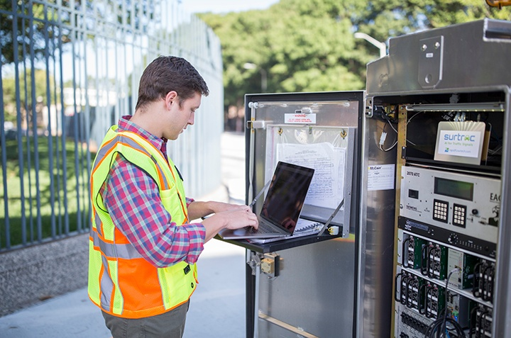 Engineer working on AI traffic control system